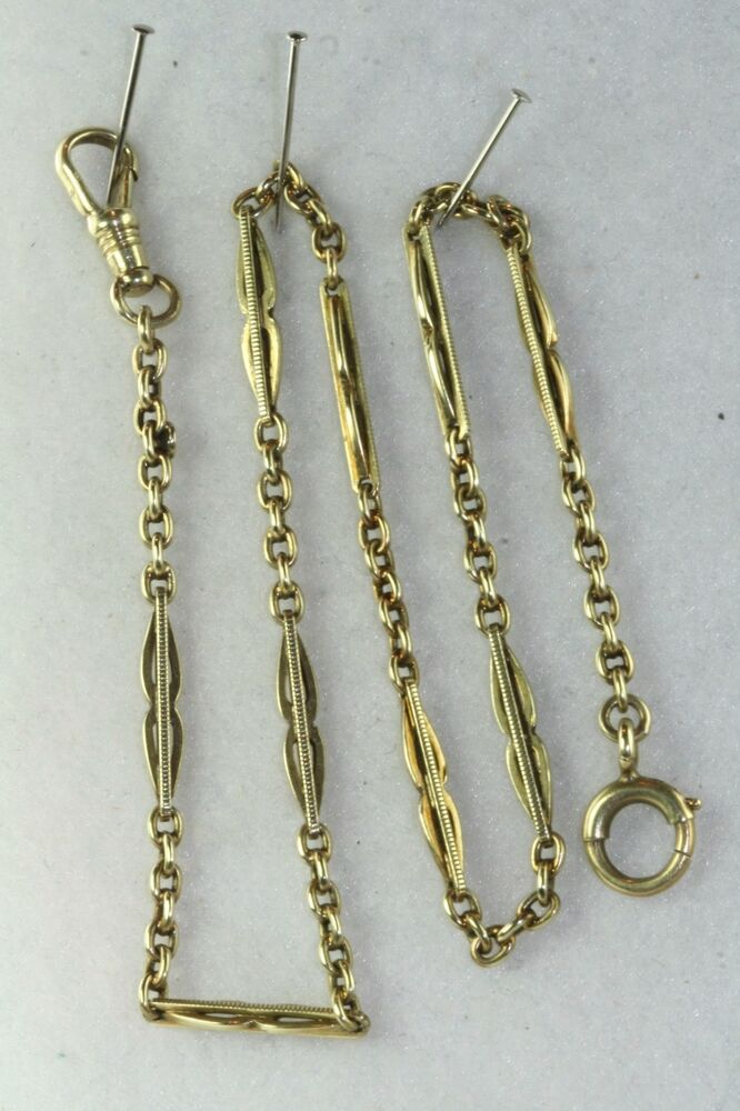 Victorian Antique 14k Yellow Gold Fancy Mens Watch Chain