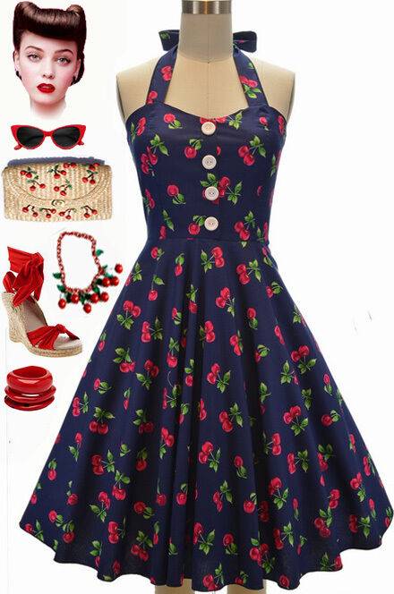 50s Style Plus Size Miss Mabel Navyblue Cherry Bomb Print