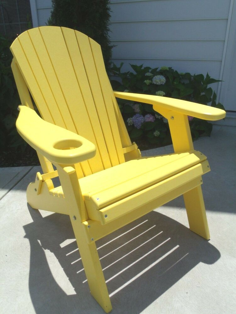 Folding Adirondack Chair W Cup Holder Poly Lumber Wood