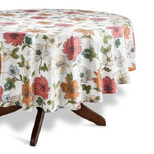 Vintage kitchen table round - Threshold Floral Table Cloth Red Cream Multi 70 Quot Round Ebay