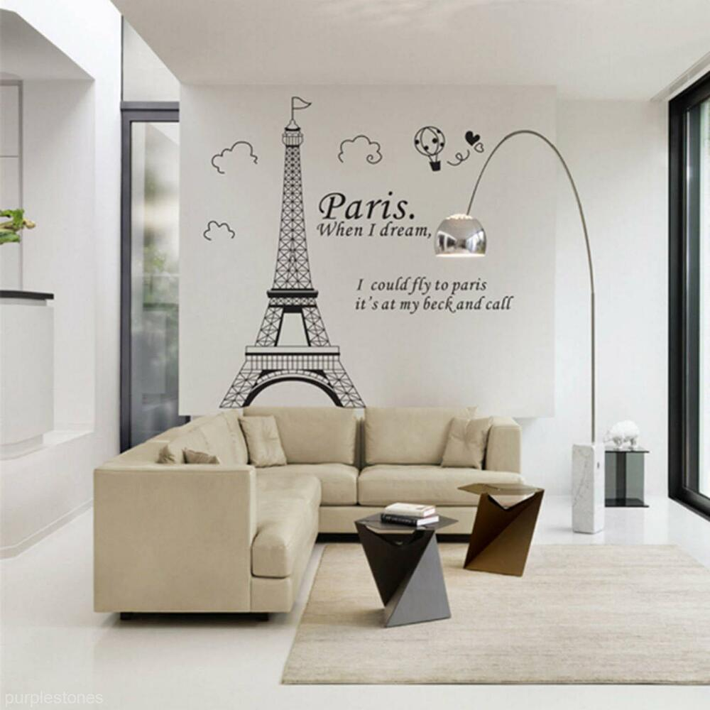 Living room bedroom home decor diy paris eiffel tower for Decor mural wall art
