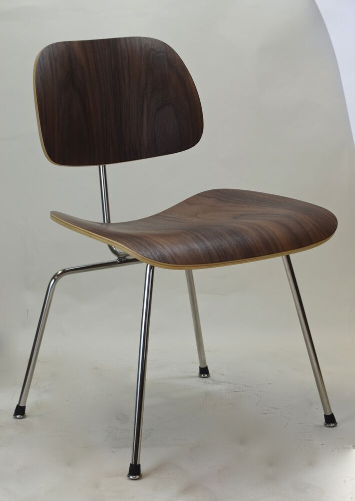 Charles Eames Style Molded Plywood Dining Chair Walnut Plywood Metal Legs