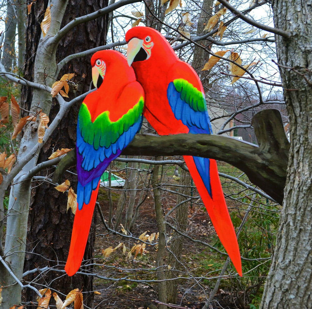 Parrots lawn stake art yard decoration birds yard stake