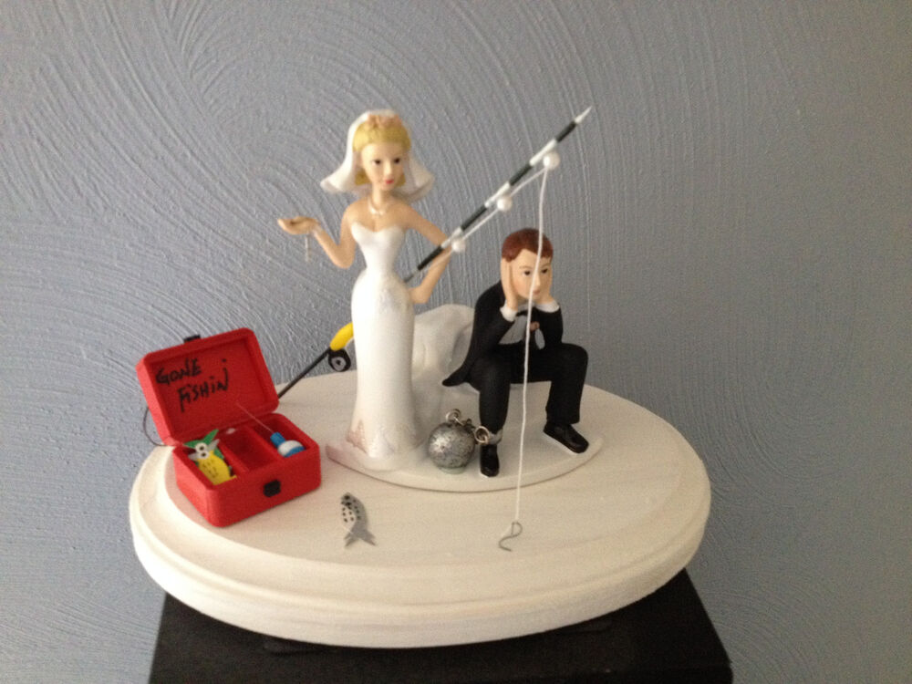 Cake topper bridal weddding funny ball chain humorous for Fishing cake decorations
