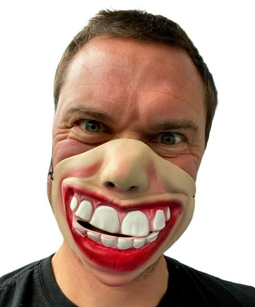 funny half face big teeth smile grin mask masks adult