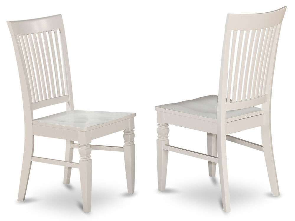 Set of 2 weston dinette kitchen dining chairs w plain for White wooden kitchen chairs
