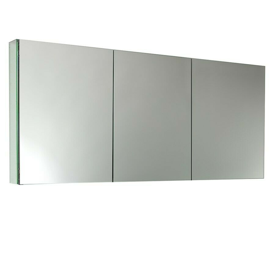 Fresca 60 wide bathroom medicine cabinet w mirrors - Large medicine cabinet mirror bathroom ...