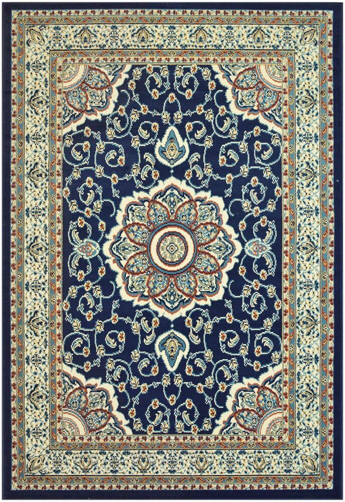 Isfahan Navy Blue Traditional Area Rugs Carpet 2x3 2x7 5x7