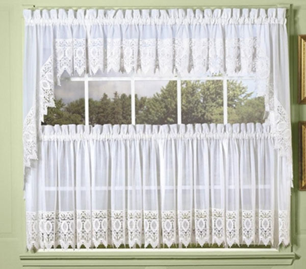 NEW Diana Sheer Voile Kitchen Curtain With Macrame Lace