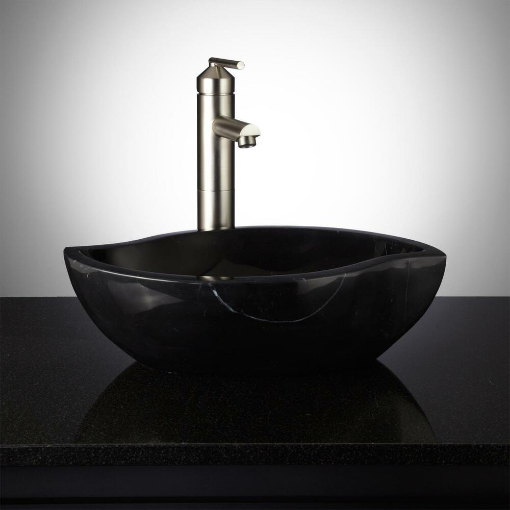 Signature hardware pontus black forest stone bathroom for Black vessel bathroom sink