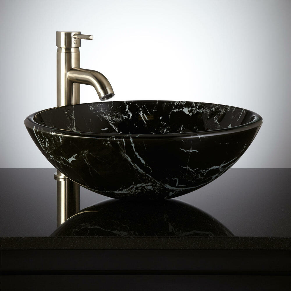 Signature Hardware Marbled Glass Bathroom Vessel Sink
