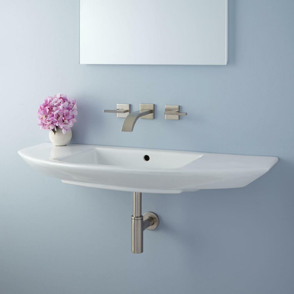 Signature Hardware Issa Porcelain Wall Mount Bathroom Sink eBay