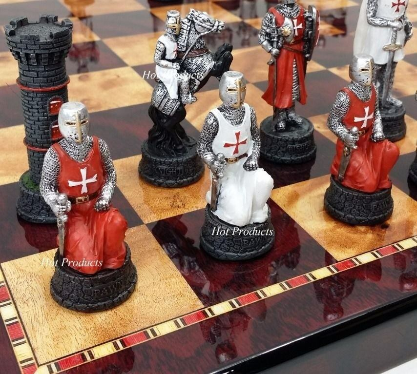Medieval times crusades warrior red white chess set w 18 cherry color board ebay - Medieval times chess set ...