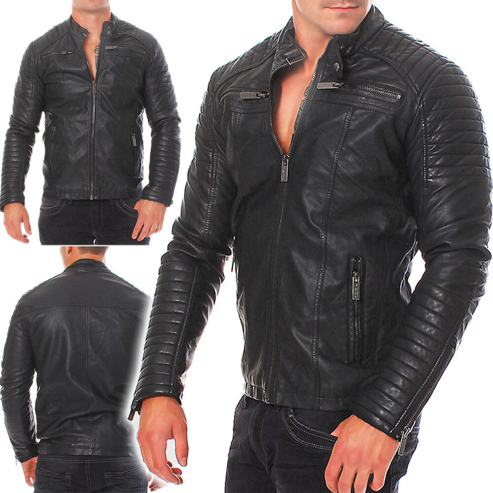 redbridge herren kunst lederjacke biker leather jacket. Black Bedroom Furniture Sets. Home Design Ideas