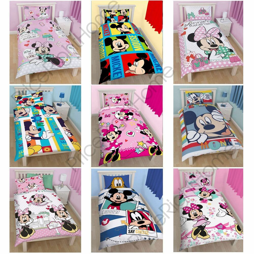 disney mickey or minnie mouse single junior duvet cover 16199 | s l1000