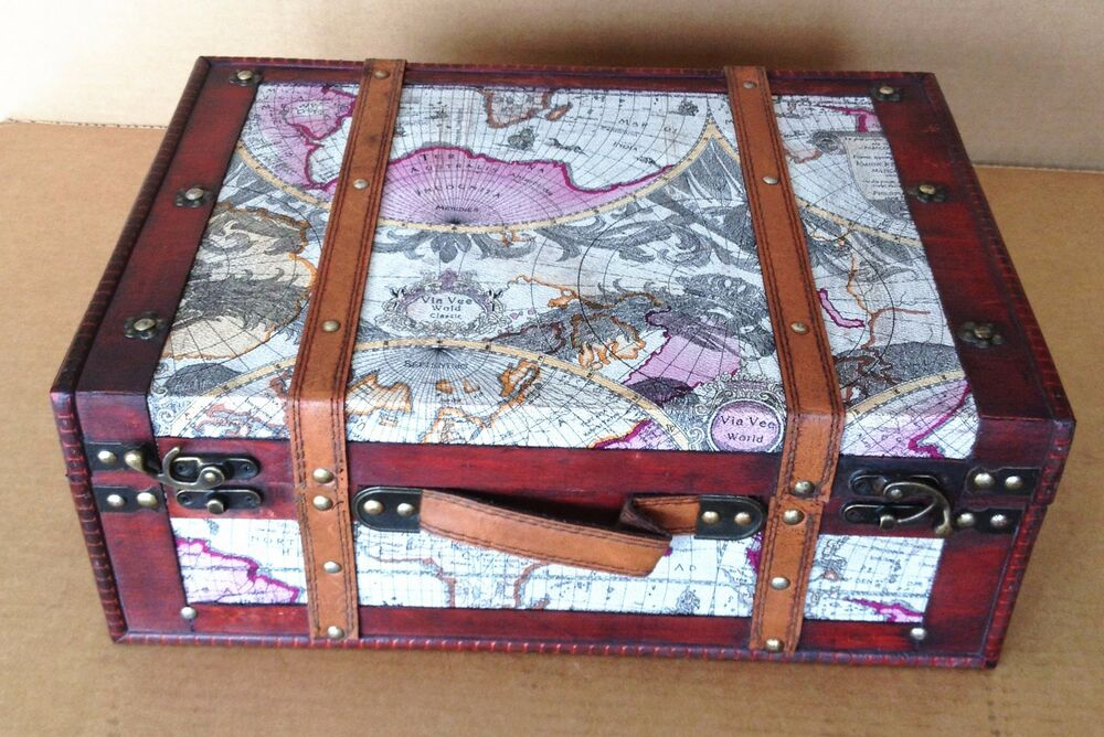 Replica Vintage Style World Map Decorative Wooden Suitcase