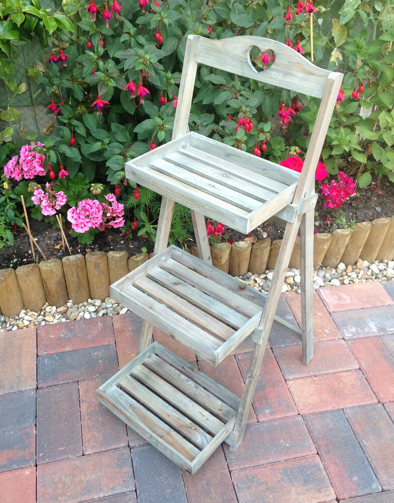 Rustic Wooden 3 Tier Plant Stand Wood Display Step Shop
