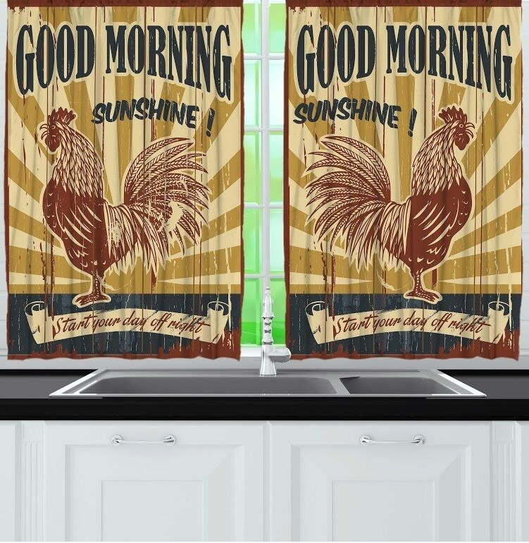 Rooster Kitchen CURTAIN Panel Set Good Morning Sunshine ...