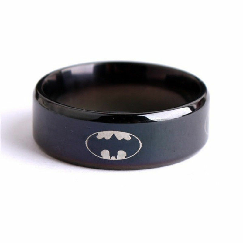 Fashion black titanium men boy batman superman symbol for Batman wedding rings for men