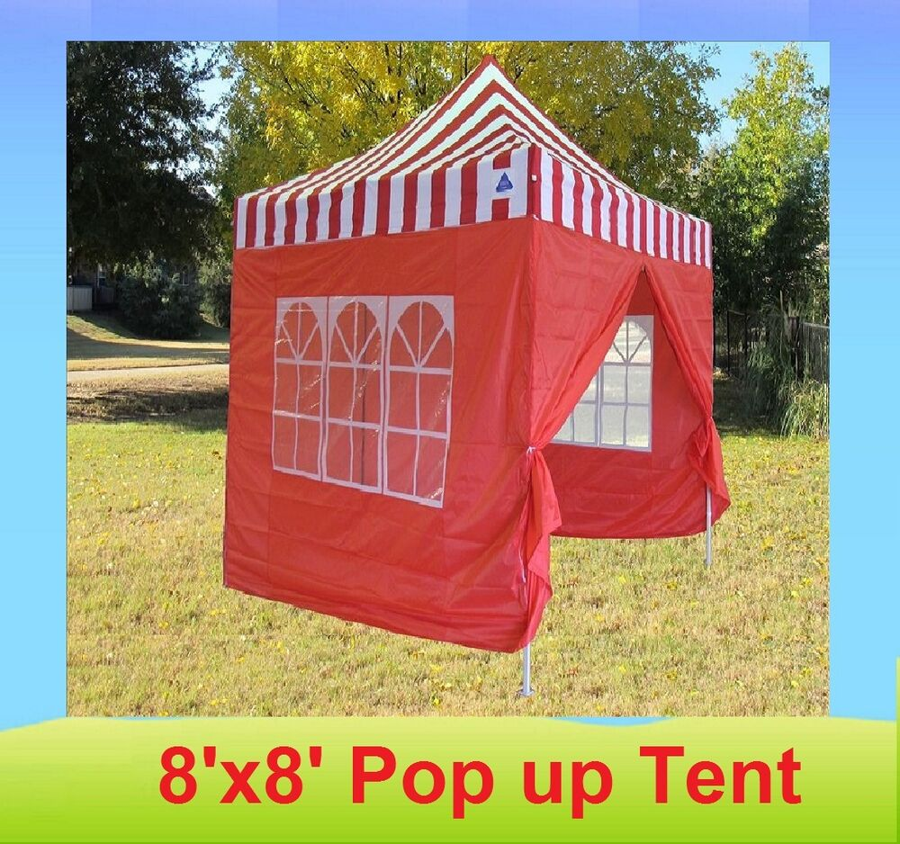 8 X 8 Pop Up 4 Wall Canopy Party Tent Gazebo Ez Red