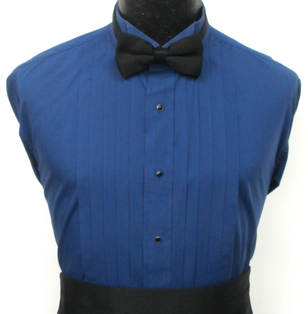 Blue pleated front wing collar tuxedo dress shirt prom for Black pleated dress shirt