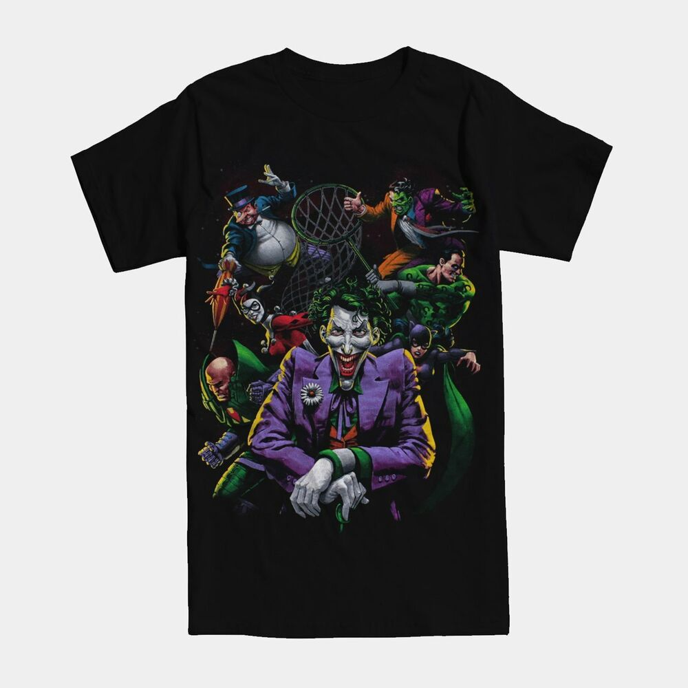 Dc villains paint joker harley riddler catwoman t shirt for Riddler t shirt with bats