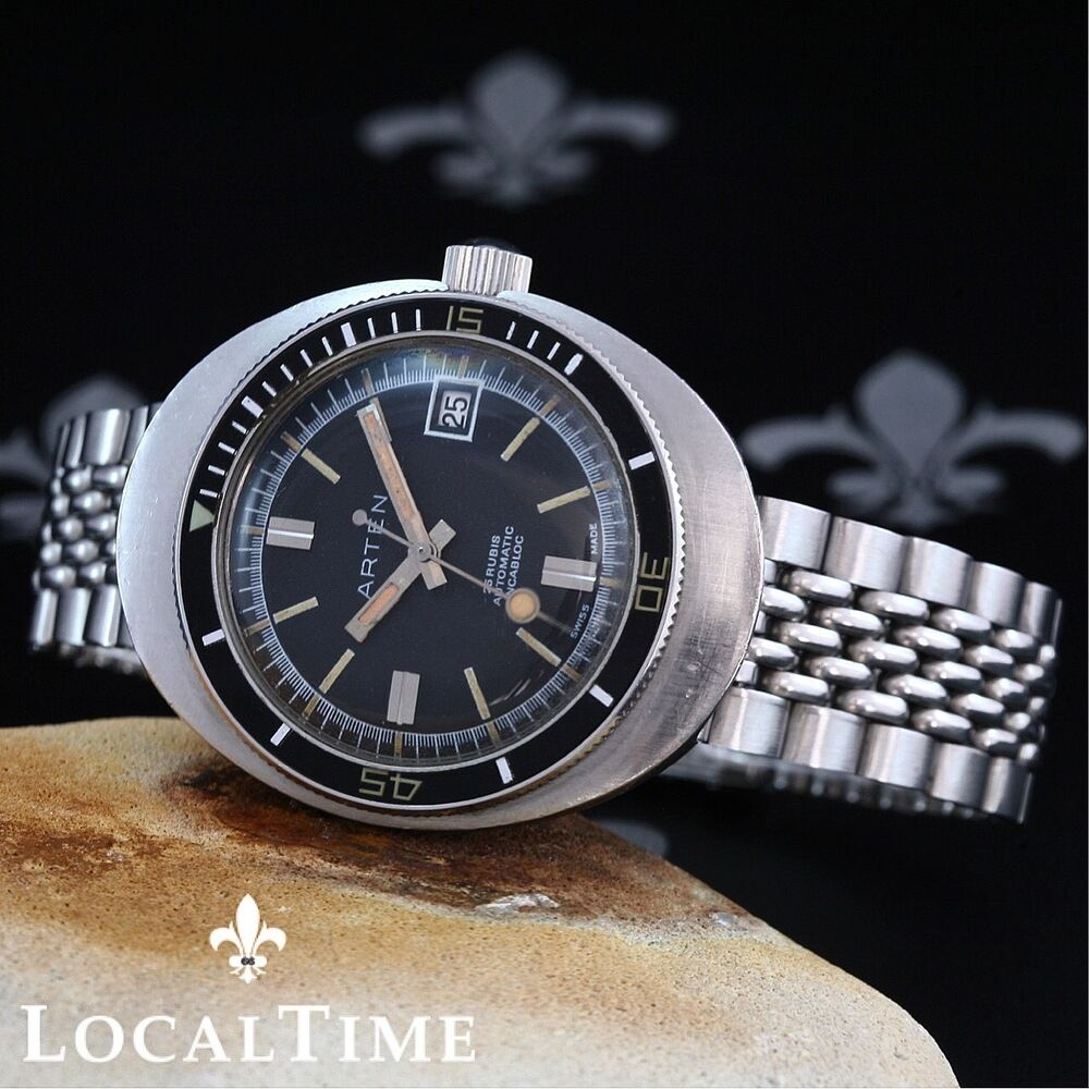 Arten substar 20atm vintage diver ufo case watch eta cal 2782 box bracelet ebay for Watches on ebay