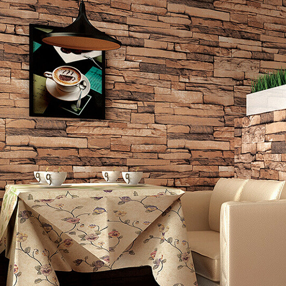 Luxury wood blocks brick stone wall effect vinyl 10m for 3d wallpaper home decoration
