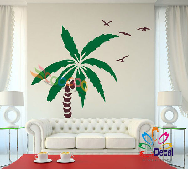 wall decor decal sticker removable palm trees 72 h x 50 w two colors one tree ebay. Black Bedroom Furniture Sets. Home Design Ideas