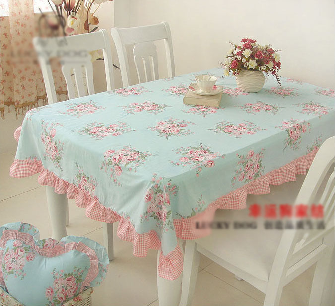 Shabby Chic Cottage Farmhouse Floral Table Cloth Blue Pink