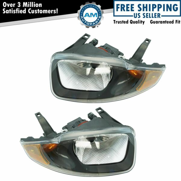 Headlights Headlamps Left & Right Pair Set for 03-05 Chevy Cavalier