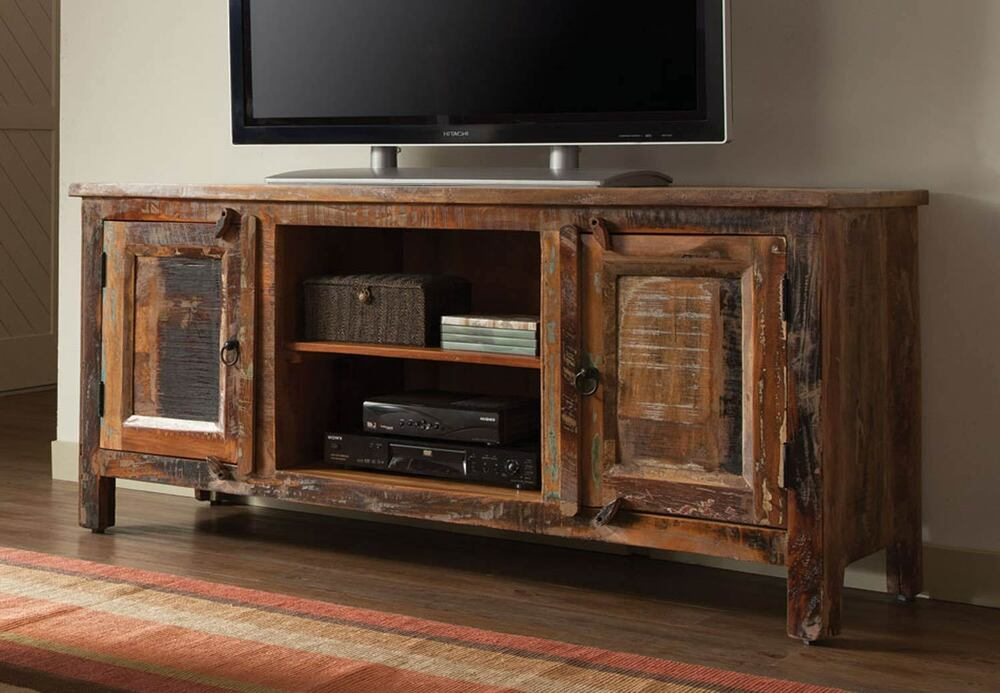 Artsy Rustic Reclaimed Wood Finish Tv Console