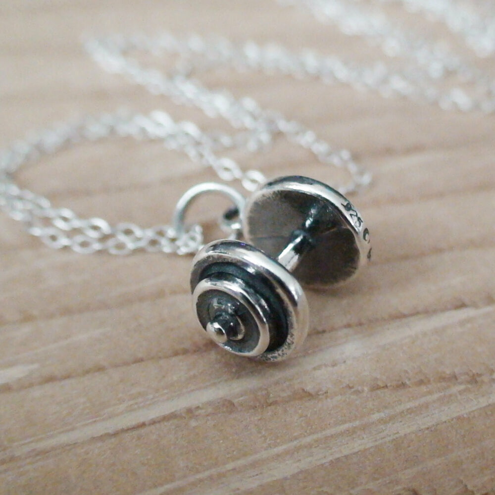 Dumbbell Charm Necklace 925 Sterling Silver New