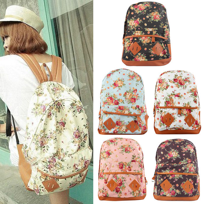 Women Canvas Rucksack Girl Flower Backpack School Book