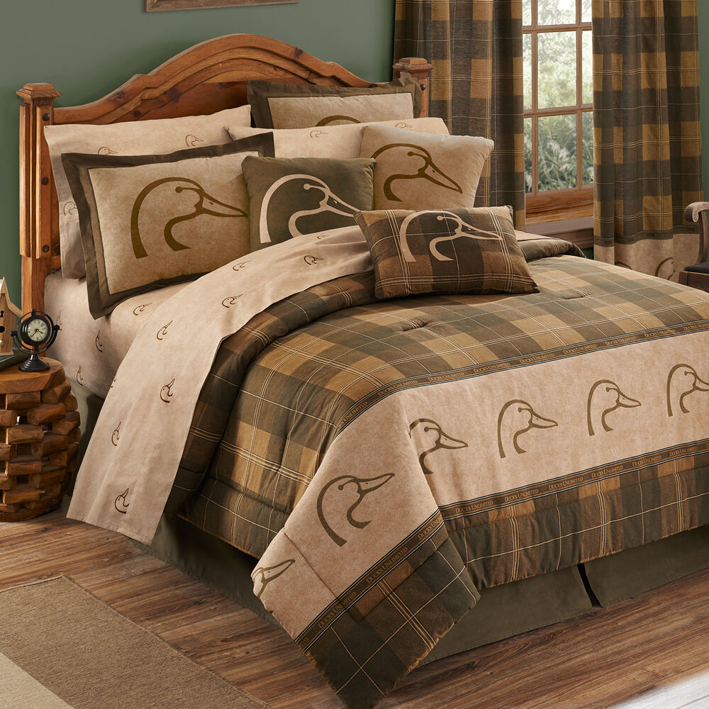 Ducks unlimited plaid comforter sheets bed in bag set for Complete bedroom sets with mattress