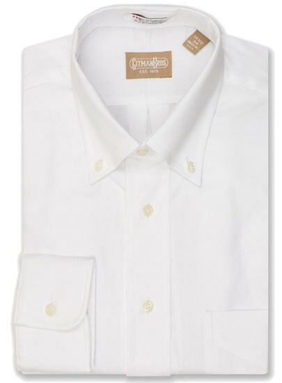 gitman button down white pinpoint dress shirt ebay