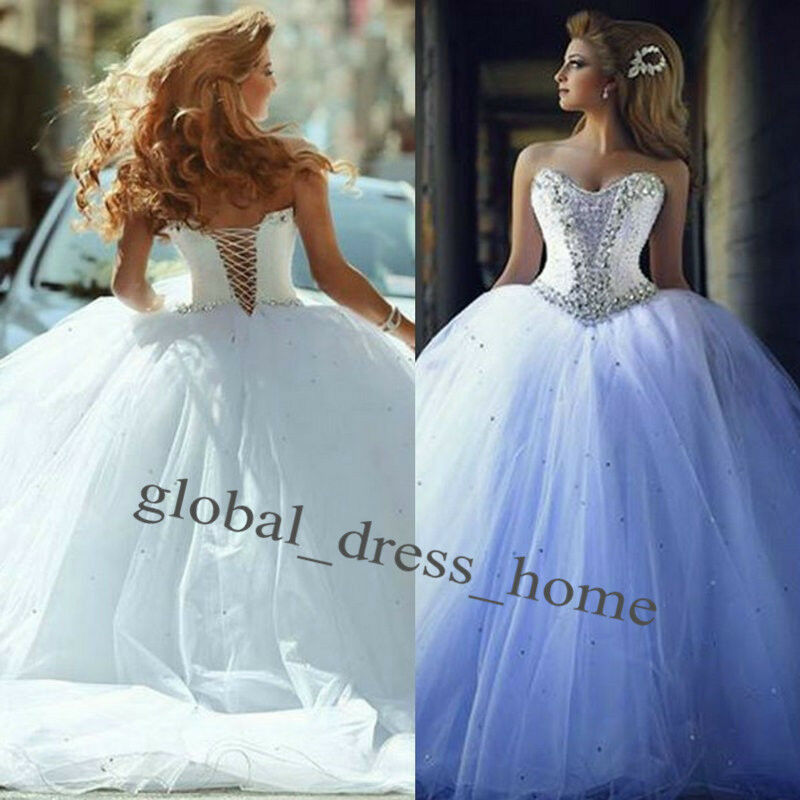 New Vintage Princess Ball Gown Wedding Dresses Beaded: Luxury Crystals Corset Ball Gown Wedding Dresses Bridal