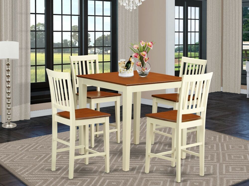 5pc counter height pub set table 4 bar stool wood chairs