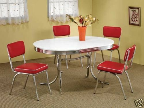 1950s style chrome retro dining table set red chairs for Red dining room table and chairs