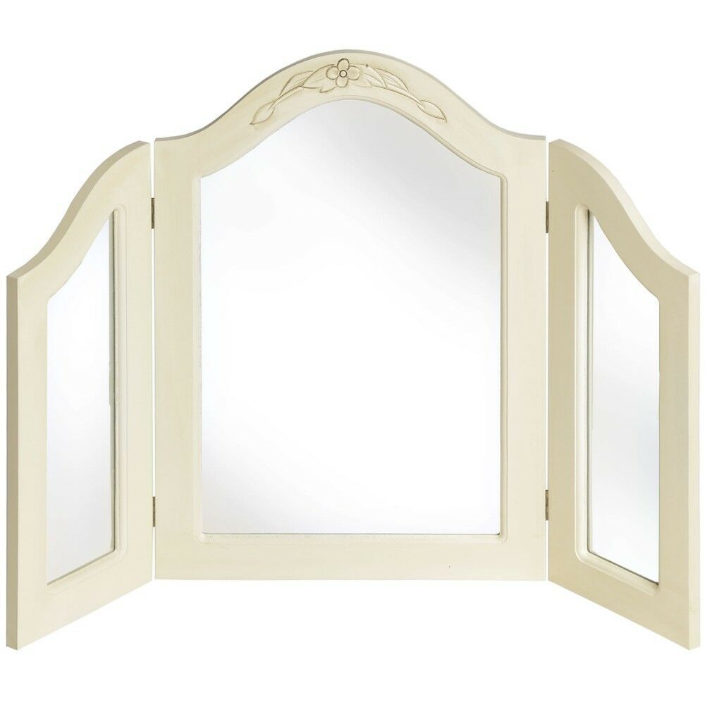 Shabby Chic Country Dressing Table 3 Way Mirror Cream