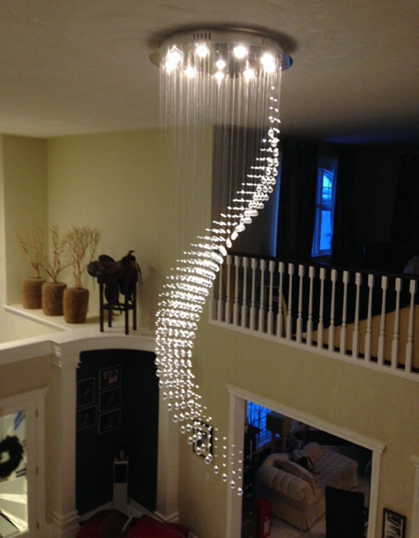 10 Best Of Modern Stairwell Pendant Lighting: Height 245cm Staircase Wave Crystal Chandelier Pendant