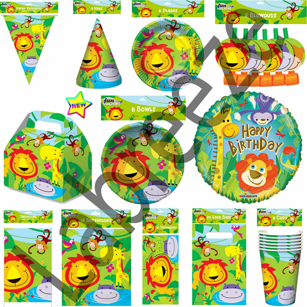 Animal lion jungle birthday party pack jungle party table ware and decoration ebay - Deco table jungle ...