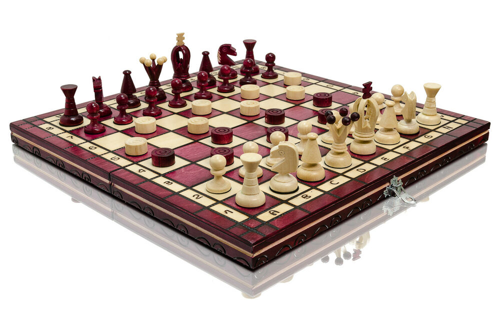 Great 39 39 red kingdom 39 39 wooden chess and draughts set 100 for Hand crafted chess set