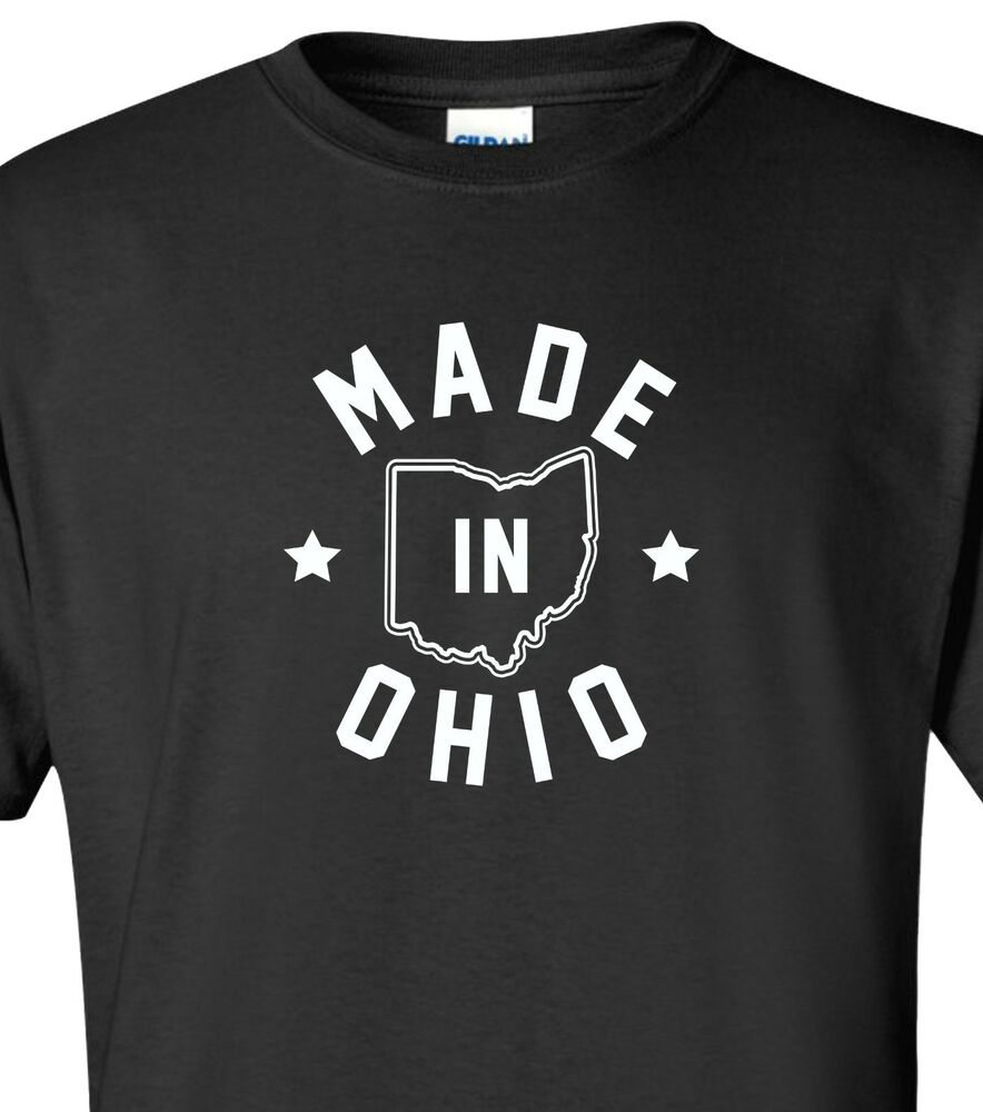 Made in ohio t shirt s 4xl buckeyes state browns indians for Ohio state polo shirt 3xl