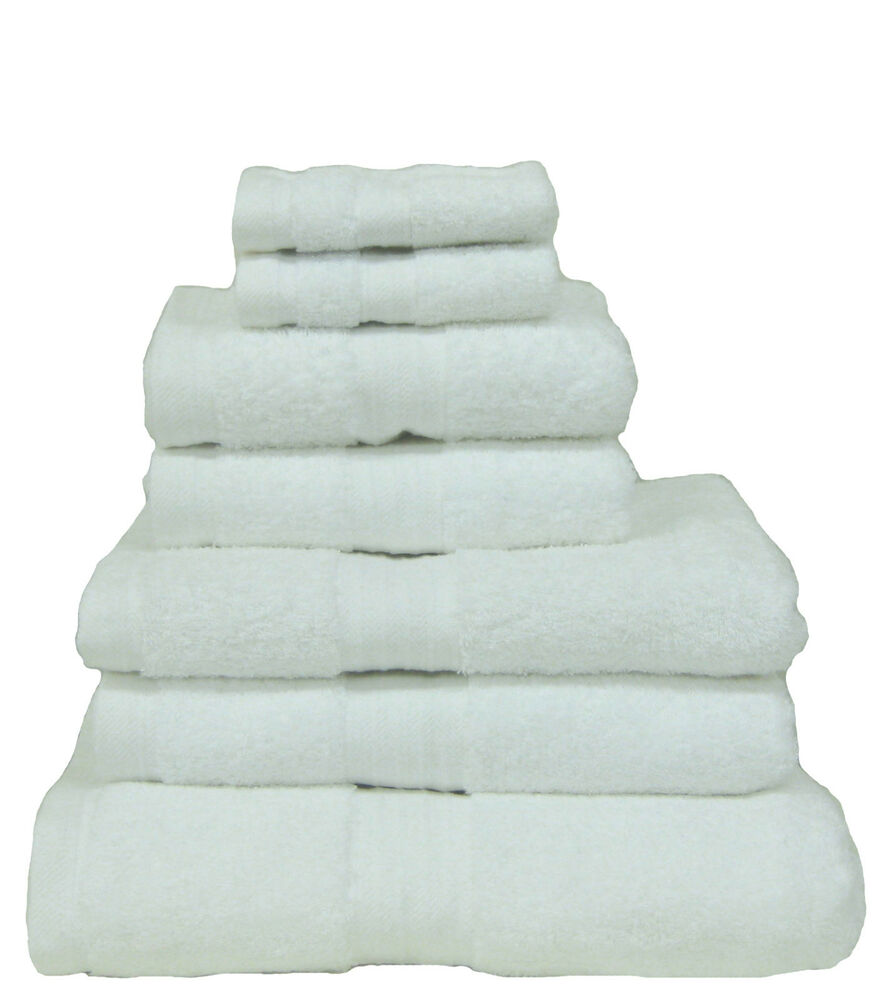 White 100 Egyptian Cotton Luxury Hotel High Quality Towels 8 Piece
