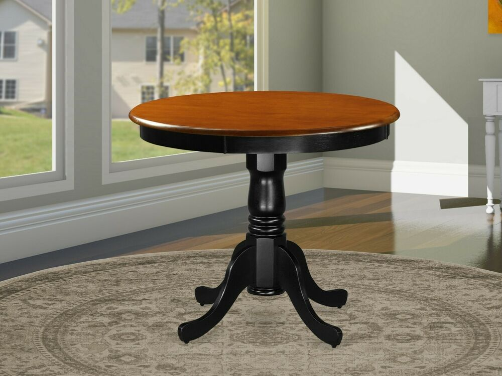 Antique 36 Small Round Single Pedestal Table In Cherry Black Solid