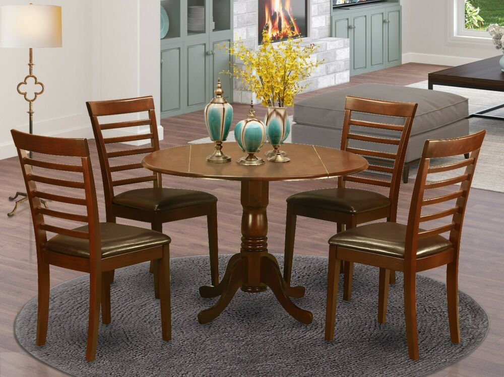 5PC SET ROUND DINETTE KITCHEN DINING TABLE with 4 LEATHER  : s l1000 from www.ebay.com size 1000 x 667 jpeg 70kB
