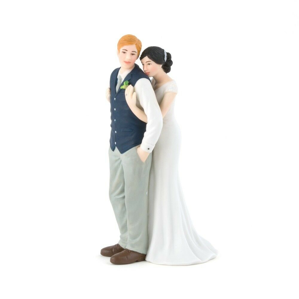 "Bride Wedding Cake Topper: ""A Sweet Embrace"" Couple Embracing Hugging Cake Topper Hug"