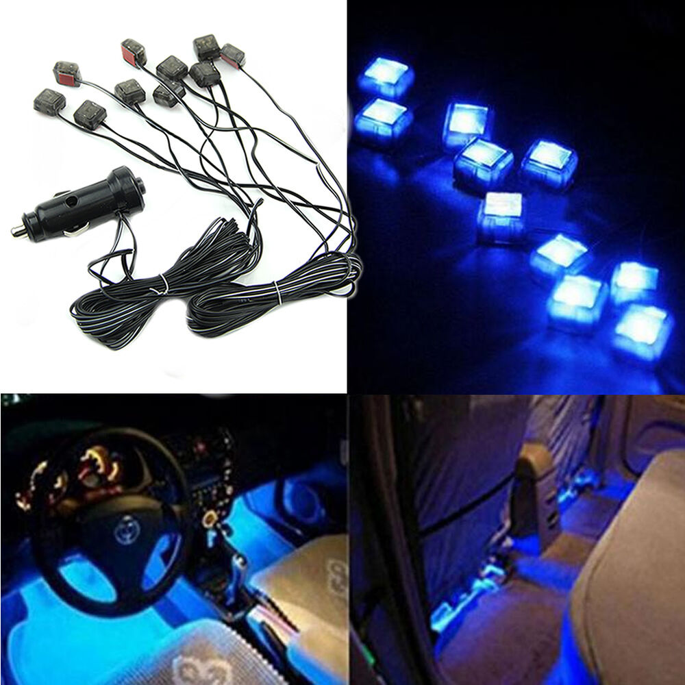 blue led 10 in 1 car charger interior decoration floor decorative light lamp 12v ebay. Black Bedroom Furniture Sets. Home Design Ideas