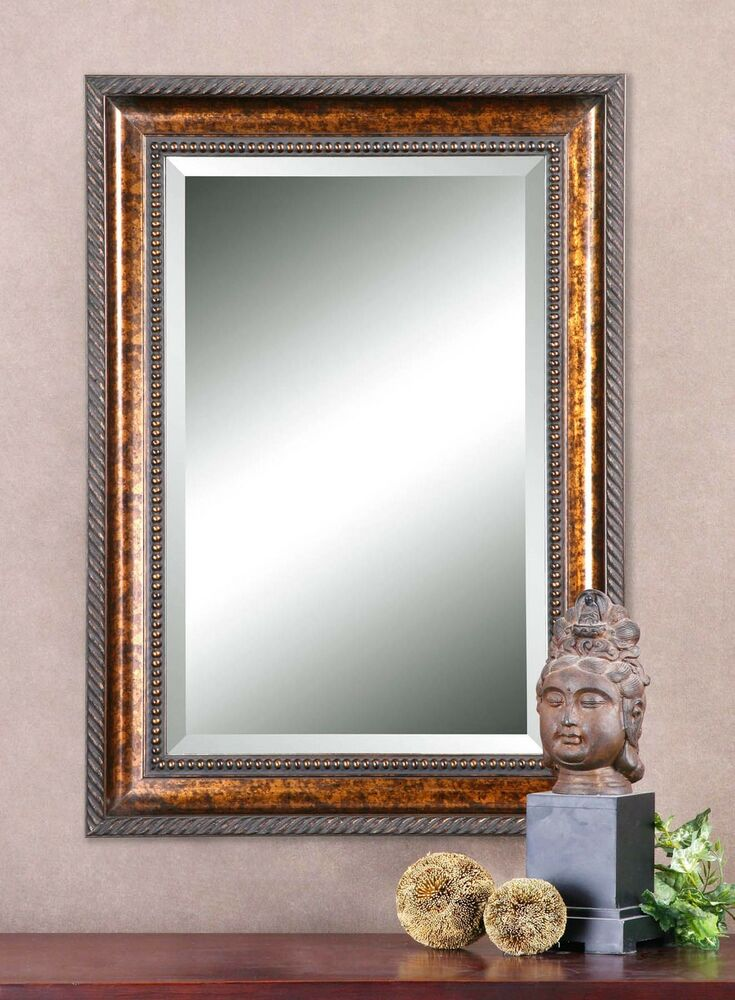 Extra large bronze frame wall mirror classic vanity ebay for Big framed mirror
